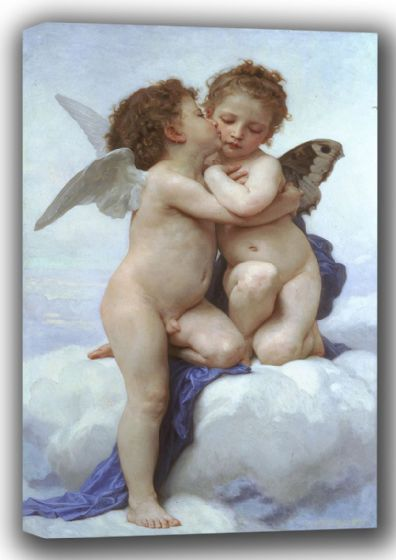 Bouguereau, William-Adolphe: The First Kiss/Cupid and Psyche as Children. Fine Art Canvas. Sizes: A4/A3/A2/A1 (001619)